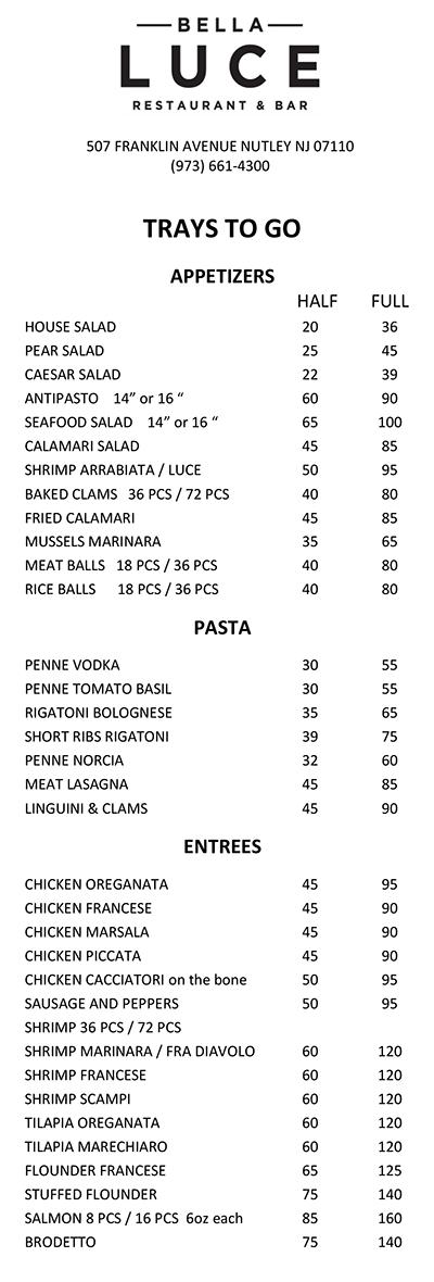 Catering - Bella Luce Italian Restaurant and Bar Nutley NJ